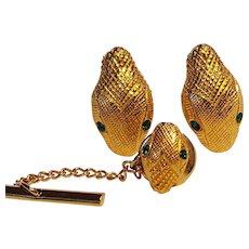 Christian Dior snake head cuff link tie tac set green eyes