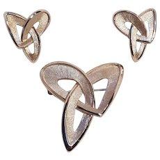 Trifari pin clip earrings set Modern abstract geometric design