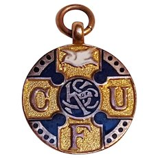 9 Ct Gold enamel fob medal pendant Knights of St Columba Caritas unitas fraternitas
