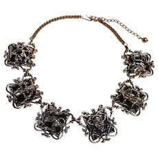 Chunky Thermoset plastic insert necklace with Asian motif