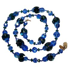 Vendome necklace Swarovski green margarita and ab blue pear shaped crystal beads