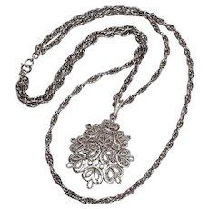 Trifari necklace two strand chain open work pendant