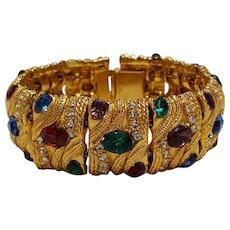 Slide bracelet wide simulated gem stone on fox chain