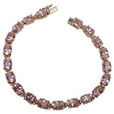10K Yellow gold pink Ice Cz tennis bracelet