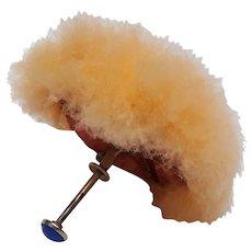 Rare French swan down umbrella compact puff La Pomponette