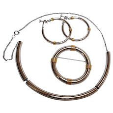 Napier Modern metal pin earrings necklace set