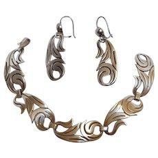 La Cucaracha Taxco sterling silver bracelet earrings set Mexico