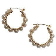 10K Gold pearl hoop earrings pierced wire findings
