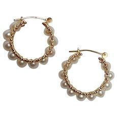 10K Gold pearl hoop earrings pierced wire findings