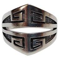 Pat Tewawina Hopi sterling silver overlay ring