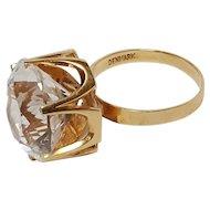 14K Gold Ibsen & Weeke Denmark crystal ice quartz ring Mid Century Modern