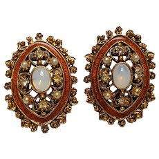 Florenza clip earrings enamel simulated opal cabochon