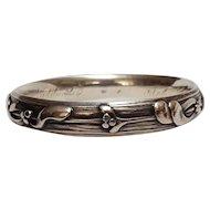 Art Nouveau sterling silver repousse bangle bracelet La Pierre Mfg Co