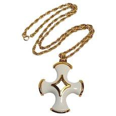 Trifari cross pendant necklace cream lucite insert