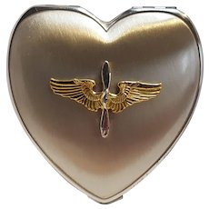 Sterling silver WW2 era sweetheart compact Army Air corps hinge co