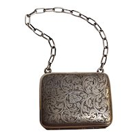 Sterling silver coin purse chased design lining
