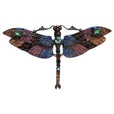 Joan Rivers mosaic dragonfly pin classics collection enamel rhinestone