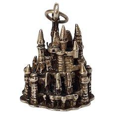 Sterling silver Disney Cinderella castle charm three dimensional