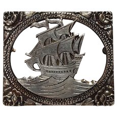 Sterling silver diorama pin cut work sailing ship rose