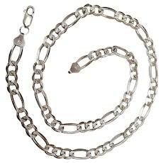 Sterling silver figaro chain necklace reversible fancy links 30 gms