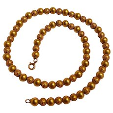 14K Gold Etruscan revival bead necklace choker length