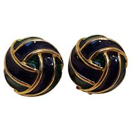 Donald Stannard enamel clip earrings blue green