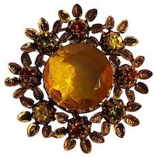Austria rhinestone pin flower head honey amber glass center