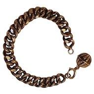 Sterling silver embossed curb link bracelet orb ball charm