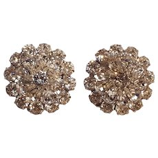 Weiss rhinestone clip earrings silver tone prong set