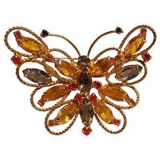 Juliana butterfly pin pendant orange smoke and amber rhinestone