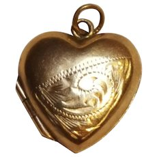 Puffy heart locket pendant charm embossed design 9 carat gold on brass