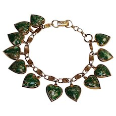 Warner lucite heart charms bracelet marbled green