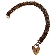 Mesh  bracelet padlock heart clasp glass turquoise stones