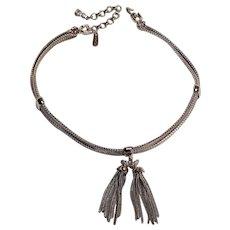 Monet mesh chain choker necklace tassel pendant silver tone