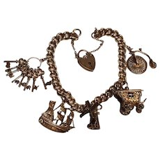 Sterling silver charm bracelet padlock heart skeleton keys Sherry ship carriage bicycle wind mill