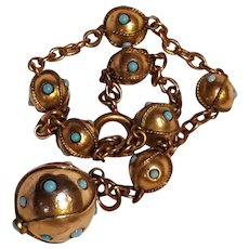 Antique Etruscan revival charm bracelet  orb ball bead turquoise glass