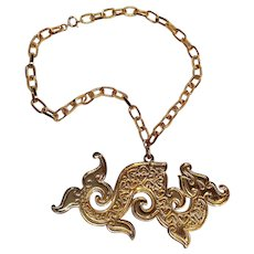 Napier Chinese dragon pendant necklace book piece 1972