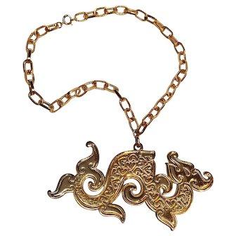 Napier Chinese dragon pendant necklace book piece 1972