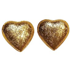 YSL Yves Saint Laurent clip earrings hearts France
