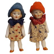 Miniature bisque dollhouse doll twins jointed arms legs