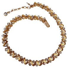 Trifari choker necklace chaton rhinestones brushed and shiny finish