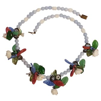 Glass bead necklace white rabbits colorful leaf clusters