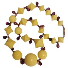 Yellow glass bead necklace amethyst glass drops