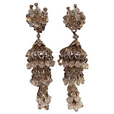 Robert chandelier aurora borealis crystal earrings shoulder duster