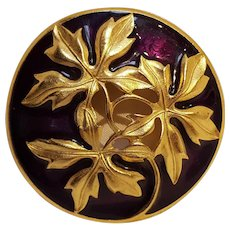 Trifari TM pin purple enamel cut out leaves