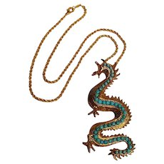 Swoboda dragon pendant necklace simulated turquoise stones