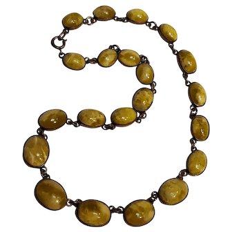 Vintage Irish Connemara marble sterling silver graduated cabochon necklace collet set