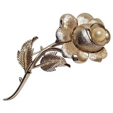 Trifari rose pin simulated pearl silver tone