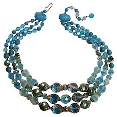 West Germany three strand blue glass bead necklace