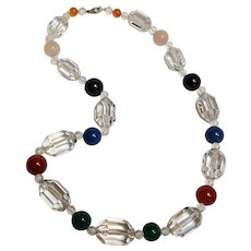 Faceted rock crystal and round multi gem stone bead necklace